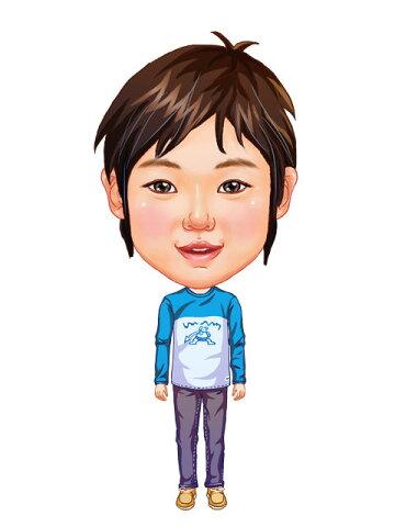 似顔絵用衣装 〜男児用衣装(水色トレーナー&グレーパンツ)〜  ※ご注意:当店似顔絵のオプション商品です。衣装単体ではご注文いただけません!