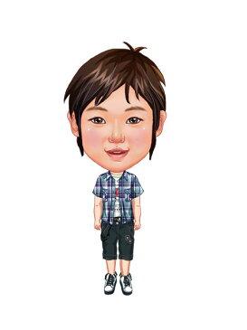 似顔絵用衣装 〜男児用衣装(紺チェックシャツ&ワークパンツ)〜  ※ご注意:当店似顔絵のオプション商品です。衣装単体ではご注文いただけません!