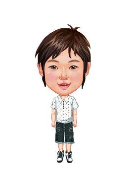 似顔絵用衣装 〜男児用衣装(ホワイトドットシャツ&ワークパンツ)〜  ※ご注意:当店似顔絵のオプション商品です。衣装単体ではご注文いただけません!
