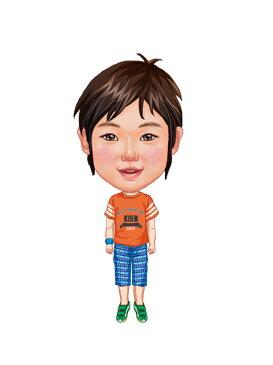 似顔絵用衣装 〜男児用衣装(オレンジTシャツ&水色ボーダーパンツ)〜  ※ご注意:当店似顔絵のオプション商品です。衣装単体ではご注文いただけません!