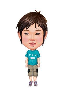 似顔絵用衣装 〜男児用衣装(水色Tシャツ&ベージュワークパンツ)〜  ※ご注意:当店似顔絵のオプション商品です。衣装単体ではご注文いただけません!