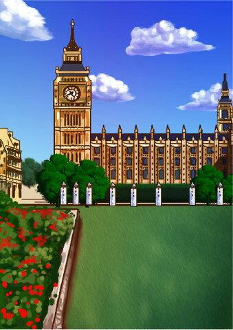 似顔絵用背景 〜イギリス ロンドン塔(縦version)〜  ※ご注意:当店似顔絵のオプション商品です。背景単体ではご注文いただけません!
