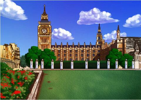 似顔絵用背景 〜イギリス ロンドン塔(横version)〜  ※ご注意:当店似顔絵のオプション商品です。背景単体ではご注文いただけません!