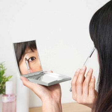【メリー】 手鏡 ハンドミラー 約5倍 拡大鏡付き コンパクトミラー 折りたたみ シルバー 拡大鏡 Sサイズ AD-105【RCP】