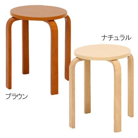木製 曲脚 椅子 丸いす 1脚 スタッキングチェアー