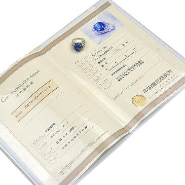 送料無料・返品可♪鑑別書付き♪PT900 スターサファイア14.5ct ダイヤ0.94ct リング 18号 新品仕上げ済み♪【中古】