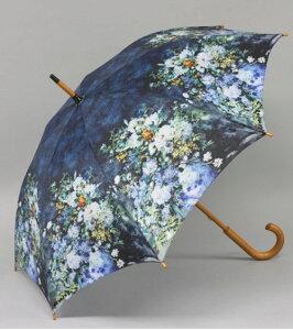 ニュー名画アンブレラ(ジャンプ傘):ルノアール/ホワイトフラワー雨傘 雨具 名画 ルノアール ホワイトフラワー おしゃれ 【HLS_DU】
