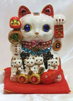 The decoration was powered up! Glittery gorgeous ♪ Deco merchants lucky Maneki Neko (l) size (piggy bank) business thriving Grand opening celebration control celebrated a mascot Deco figurine P25Apr15