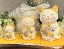 招き猫 デコレーション キラキラ 置物 おしゃれ かわいいラインストーンのデコレーションがかわいい♪風水招き猫(貯金箱):イエロー 3体セット(S・M・Lサイズ×各1)猫 雑貨 プレゼント 商売繁盛 開店祝い 合格祈願 御祝 内祝 縁起物