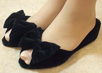 ベルベットリボンヒール slippers: black size S (22 ~ 23 cm) size M (23-24 cm) l (24-24.5 cm) heel slippers black 5 cm Ribbon velvet room shoe pun take your slippers, school formal
