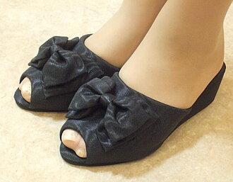 モアレリボンヒール slippers: black size S (22 ~ 23 cm) size M (23-24 cm) l (24-25 cm) heel slippers black 5 cm Ribbon room shoe pun take your slippers, school formal