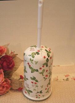 陶瓷馬桶刷 w / 展臺: 野生草莓時尚馬桶刷持有人陶瓷公廁清潔廁所