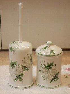 買套和陶瓷馬桶刷站、 鍋集: 白玫瑰廁所刷時尚馬桶刷持有人陶瓷馬桶清潔廁所產品
