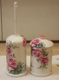 買套和陶瓷馬桶刷站,壺組: 古董玫瑰時尚馬桶刷持有人陶瓷公廁清潔廁所