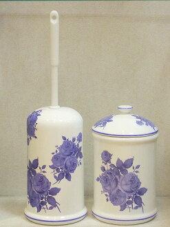 買套和陶瓷馬桶刷站、 鍋集: 藍色玫瑰馬桶刷時尚馬桶刷持有人陶瓷座便器清潔廁所用品 05P11Apr15