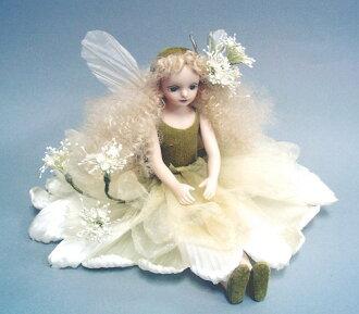 Wakatsuki 馬林兒童花仙子娃娃! elfinflory: 蕾絲花 (白色) 娃娃童話花仙子瓷娃娃禮品慶典紀念品陶 05P19Jun15