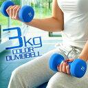 1年保証 ダンベル 3kg 2個セット 合計6kg カラーダンベル 男女兼用 男性 女性 メンズ レディース 鉄アレイ 鉄アレー 筋トレ インナーマッスル 筋力トレーニング 器具 エクササイズ ダイエ