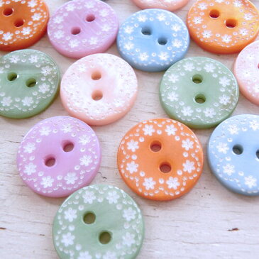 ハンドメイド・二穴・お花柄シェルボタン(全5色)