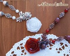 天然石の薔薇カットネックレス!上品な雰囲気です。ハンドメイド・アクセサリーハンドメイド・...