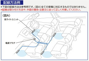 LEDフロアライト 4連 F250 白2×青3水平光 切り替え可 クリア カー用品のセイワ(SEIWA) メーカー直販