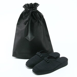 クリップ プレゼント グログラン スクエアトゥ スリッパ ブラック オリジナル