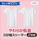 《2枚組》GUNZE(グンゼ)やわらか肌着 半袖シャツ 女の子用 100?160センチ コットン ホワイト 白無地【あす楽】