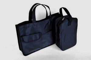 【レッスン】【2点セット】紺色ナイロン製レッスンバッグ&シューズバッグ【お受験バッグのハッピークローバー】【あす楽対応商品】