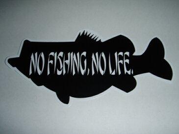 NO FISHING , NO LIFE. ブラックバスステッカー