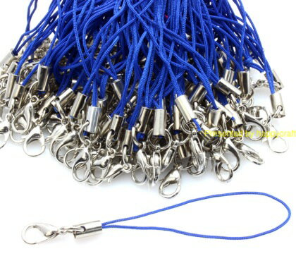 カニカン付きストラップ 100本 青色紐×銀 レッド ストラップパーツ アクセサリー レジン ハッピークラフト/HAPPYCRAFT