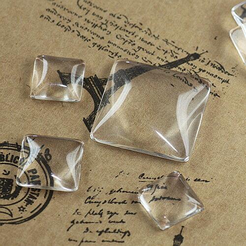 (メール便可) 丸と正方形 ガラスカボション ガラスドーム クリアカボション 10mm~15mm 1個価格 ハッピークラフト/HAPPYCRAFT