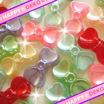 デコパーツ☆特殊型パール りぼん型パール10個MIXアソート・ネイル