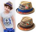 男の子 中折れ帽子 子供 中れ折ハット 麻 子供 帽子 子ども ハット 男の子 麦わら帽子 麻 ジュート ヘンプ ワッペン キッズ 帽子