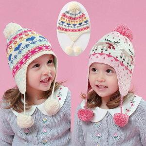 ニット帽 キッズ 子供帽子 女の子 子供 防寒 ジュニア 帽子 冬 こども ニット帽子 ボンボン付き かわいい ニット帽子 子ども