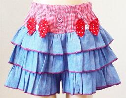 ★リボン付き3段フリルの超可愛いスカート型デニムショートパンツ★