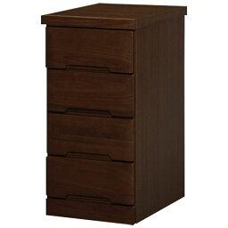 【ポイント20倍】天然木 リビングボード/収納棚 【約幅30×高さ61cm ダークブラウン】 木製 引き出し付き 〔ダイニング〕