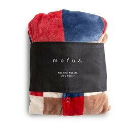【ポイント20倍】mofua プレミアムマイクロファイバー着る毛布 フード付 (ルームウェア) Lサイズ【チェック柄レッド】