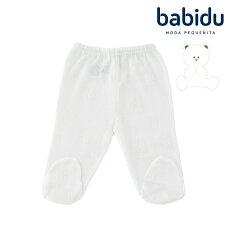 Babiduバビドゥ足つきパンツ透かし編みテディベア柄出産祝い綿100%