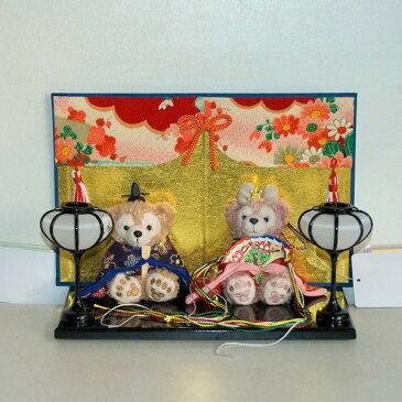 【送料無料】【雛人形】贈り物に♪ぼんぼり&屏風付き・ストラップサイズぬいぐるみ・お雛様ペア飾り【グッズ】*hina-bonbori-1(菊)