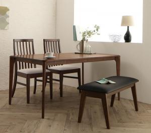 ダイニングテーブルセット 4人掛け おしゃれ 天然木 ウォールナット無垢材 ハイバックチェア 4点セット(テーブル+チェア2脚+ベンチ1脚) W150