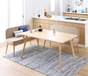 ダイニングテーブルセット 4人掛け おしゃれ 3点セット(テーブル幅140+ソファベンチ2脚) やさしい色合いの北欧スタイル ソファベンチ ダイニングソファーセット