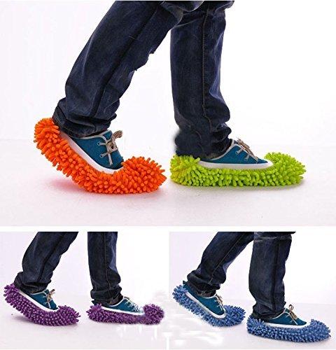 歩くだけで 簡単 お掃除 モップスリッパ 黄緑 桃色 橙色 青 紫 ライトグリーン ピンク オレンジ パープル ブルー モコモコスリッパ マイクロファイバースリッパ おそうじスリッパ 掃除スリッパ掃除