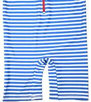 水着 ラッシュガード 子供 ベビー 男の子 帽子付 2点セット 100cm(3T) 110cm(4T) キャップ付き水着 キッズ用水着 しましま ボーダー柄 水色 白 つなぎ キャップ ポリエステル ポリウレタン 青白ボーダーブルー ホワイト 半袖 ハーフ丈 子供用水着
