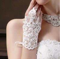 最良の一日を美しく ウェディング グローブ 選べる2タイプ 結婚式用手袋 レース ラインストーン ロングタイプ ショートタイプ チュール ビーズ 指なし手袋 フィンガーレスグローブ ブライダル手袋 ショートグローブ 刺繍  花嫁用品 ホワイト 白 綺麗