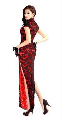 チャイナドレス風半袖 ハイスリット セクシー パーティー 衣装 チャイナドレス コスチューム レディースロングタイプ チャイナワンピース チャイナ服