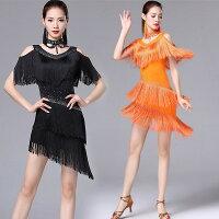 「サイズ有M/L/2L/3L」ラテンドレスラテンダンスダンス衣装演技服ワンピース練習着ワルツチャチャチャラテンステージ衣装演出着演出用フリンジdb078l6l6l6/代引不可