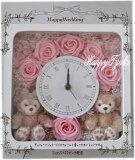 **ホワイトデーにいかが?ディズニーシー★ダッフィー&シェリーメイがついた時計。掛け時計としても、置時計としてもつかえます。プレゼントにおすすめ!プリザーブドフラワー☆♪♪♪ 母の日