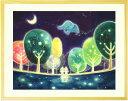 森の絵画インテリアアート「心の森が 輝く時間」■LLサイズ・ポエム付■...
