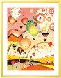絵画 インテリア 空の絵 花気球「どこまでも どこまでも(イブニング)」■Lサイズ・ポエム付■ 壁掛けアート 部屋 事務所に飾る絵画 壁掛け アートポスター アートフレーム 額付き 額入り 玄関 リビング 店舗 熱気球 可愛い絵画 シルエット 虹の絵画 気球の絵画