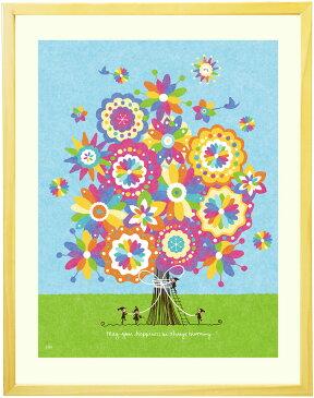 花の絵画 インテリア アート「幸せの花束(虹色)」■Mサイズ・ポエム付■ 壁 おしゃれ 壁掛け 絵 おすすめ アート 玄関 額入り 玄関に飾る絵画 風水 ポスター インテリア 雑貨 北欧 新築祝い プレゼント 友人 友達 可愛い 癒し 花の絵 お祝い リビング 部屋 壁飾り 花 額付き