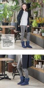 ムートンブーツ【UNFITfemme】ムートンブーツショートリボン付きブーツ22〜25cm全4色サテンリボンムートンブーツ本革レディースボア牛革靴シューズショートムートンブーツ